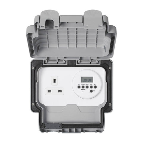 MK Masterseal Plus K56485GRY - IP66 13A 1 Gang Socket With Electronic Timer - Grey