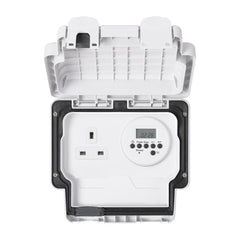 MK Masterseal Plus K56485WHI - IP66 13A 1 Gang Socket With Electronic Timer - White