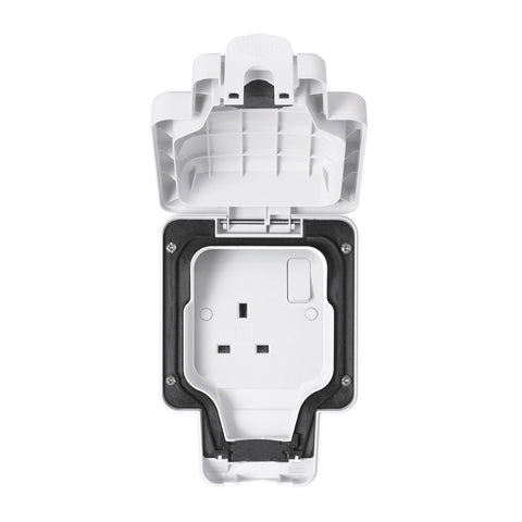 MK Masterseal Plus K56486WHI - IP66 13A 1 Gang Switched Socket - White