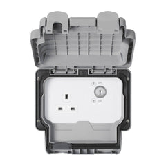 MK Masterseal Plus K56487GRY - IP66 13A 1 Gang Socket With Key Lock Switch - Grey