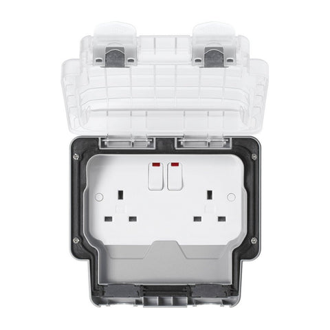 MK Masterseal Plus K56488GRY - IP66 2 Gang 13A Single Switch Socket Outlet with Neon + Clear Lid - Grey