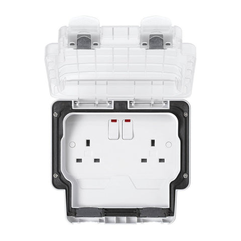 MK Masterseal Plus K56488WHI - IP66 2 Gang 13A Single Switch Socket Outlet with Neon + Clear Lid - White