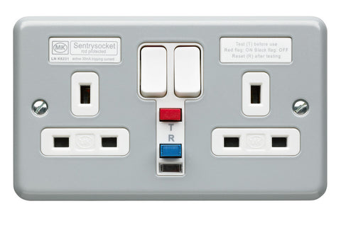 K6231ALM - 2 Gang 13A 30ma Active RCD Socket Outlet - Metallic
