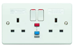 MK Electric K6231WHI Logic Plus 2 Gang 13A RCD Socket 30ma Active