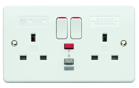 MK Electric K6233WHI Logic Plus 2 Gang 13A RCD Socket 30ma Passive