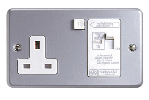 K6302ALM - 13A 1 Gang Double Pole 30ma Active RCD Socket Outlet - Metallic