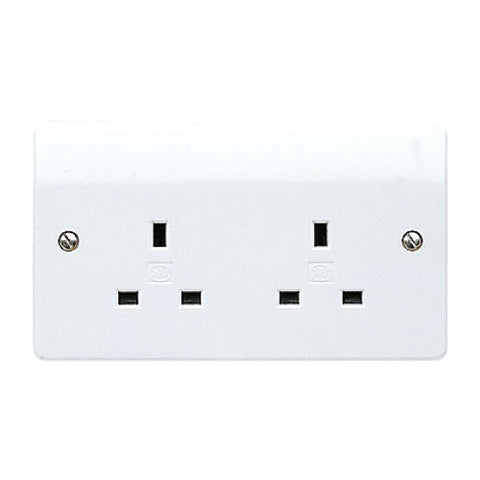 MK Electric K781WHI Logic Plus 13A 2 Gang Unswitched Socket