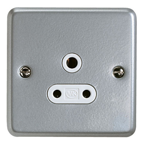 K842ALM - 5A 1 Gang Round Pin Socket - Metallic