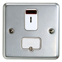 K963KOALM - 13A Double Pole Secret Key Operated Fused Connection Unit with Neon - Metallic