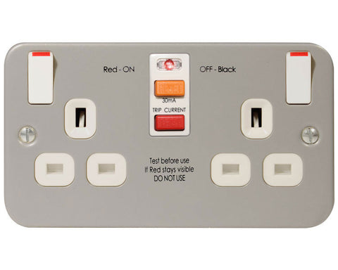 MC522RCD - 2 Gang 13 Amp RCD Socket Outlet - Metallic