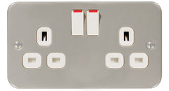 MC522 - 2 Gang 13 Amp Switched Socket Outlet - Metallic