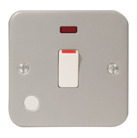 MC531 - 1 Gang 20 Amp Double Pole Switch With Neon, with Optional Flex Outlet - Metallic