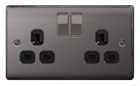 BG  Nexus Metal - NBN22B -  Black Nickel 2 Gang 13A Switched Socket