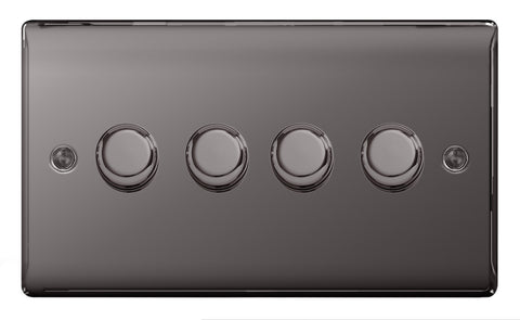 BG  Nexus Metal - NBN84P -  Black Nickel 4 Gang, 2 Way 400W