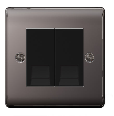 BG  Nexus Metal - NBNRJ112 -  Black Nickel RJ11 Socket, 2 Gang