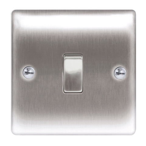 BG  Nexus Metal - NBS12 -  Brushed Steel 10AX Plate Switch 1 Gang, 2 Way