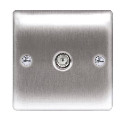 BG  Nexus Metal - NBS60 -  Brushed Steel Co-Axial Socket, 1 Gang