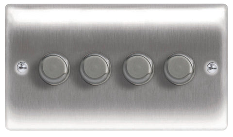BG  Nexus Metal - NBS84P -  Brushed Steel 4 Gang, 2 Way 400W