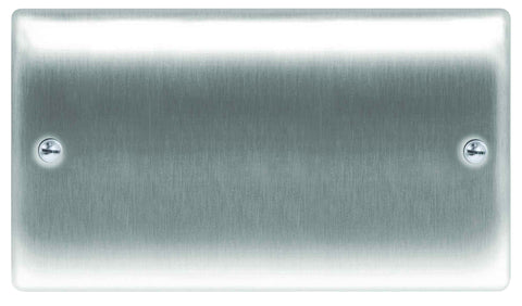 BG  Nexus Metal - NBS95 -  Brushed Steel 2 Gang Blank-Plate