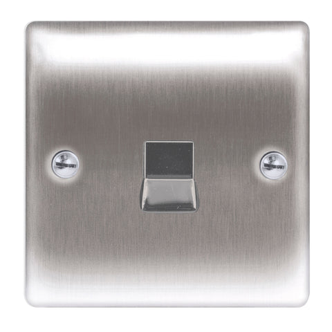 BG  Nexus Metal - NBSRJ111 -  Brushed Steel RJ11 Socket, 1 Gang