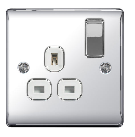 BG  Nexus Metal - NPC21W -  Chrome 1 Gang 13A Switched Socket