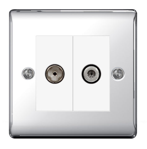 BG  Nexus Metal - NPC65 -  Chrome Satellite And Co-Axial Socket, 2 Gang