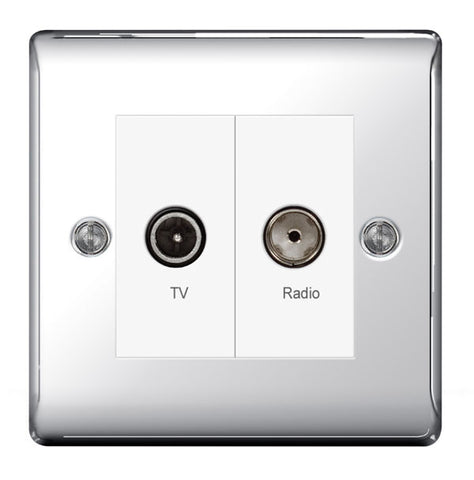 BG  Nexus Metal - NPC66 -  Chrome Diplex TV/FM Socket, 2 Gang