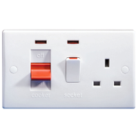 GU4001 Ultimate white moulded 45A cooker control unit + 13A switched socket +neon