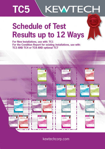 Kewtech - TC5 Schedule of Test results 12 Ways