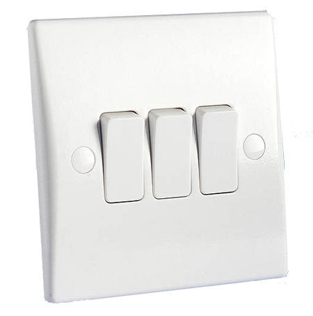 GU1032 Ultimate white moulded 3 gang 2 way 16AX plate switch