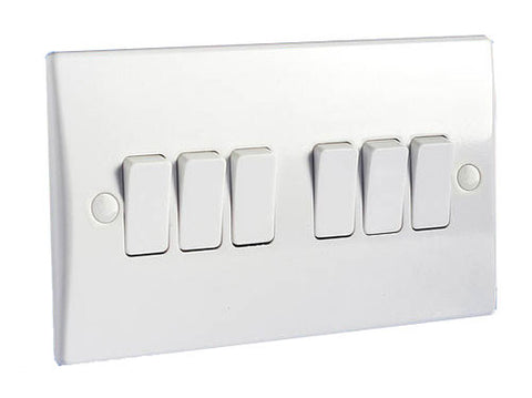 GU1062 Ultimate white moulded 6 gang 2 way 16AX plate switch