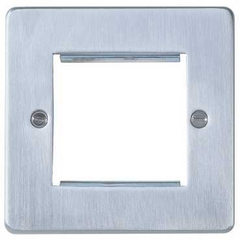 GU8560BC Ultimate low profile brushed chrome 2 euro modular plate