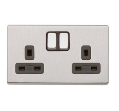 MK K24347BSSB - 13A 2G Dp Dual Earth Switched Socket