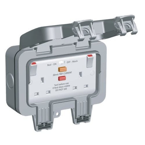 BG Nexus Storm WP22RCD - IP66 2 Gang 13 Amp IP rated RCD Switched Socket Outlets (Latching) - Grey
