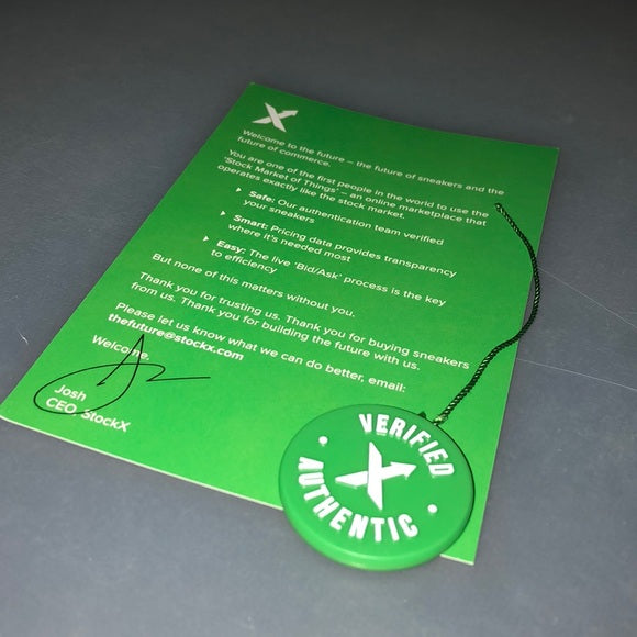 StockX Verified Authentic tag and paper