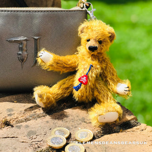 CLEVER TEDDY BIRLA / MOHAIR QUALITY BEAR (KEY RING /COIN CASE)
