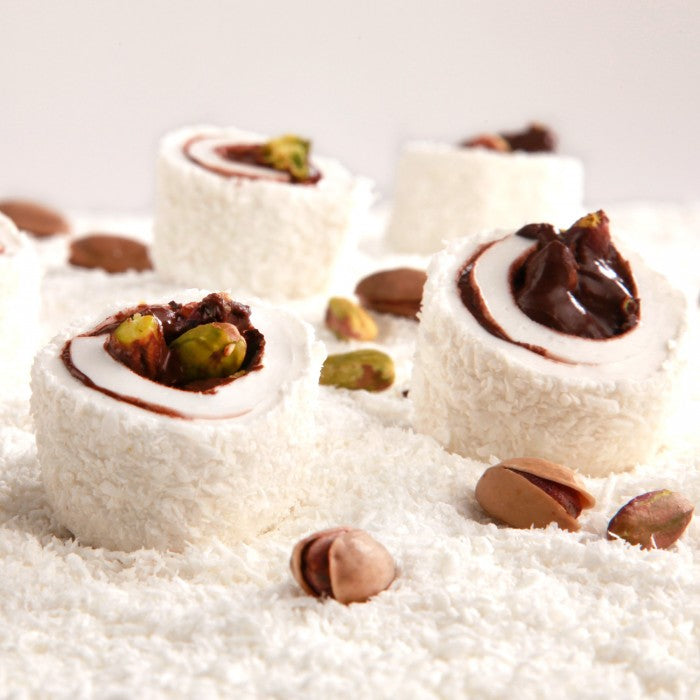 Sultan Turkish Delight with Coconut Covered, Chocolate and Pistachio Filling