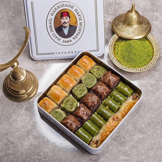 Assorted Baklava in Metal Gift Box 1.1kg (38.80oz) - TurkishTaste.com