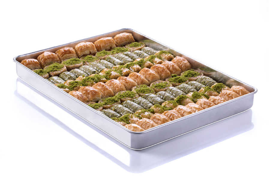 Assorted Mixed Fresh Baklava on Tray - TurkishTaste.com
