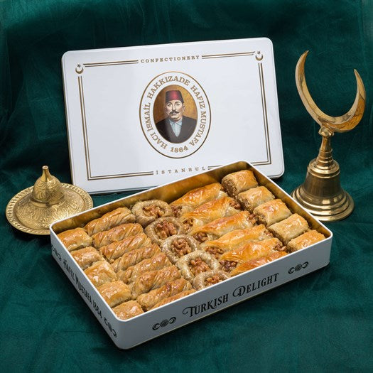 Assorted Walnut Baklava in Metal Gift Box 1.3kg (45.85oz) - TurkishTaste.com