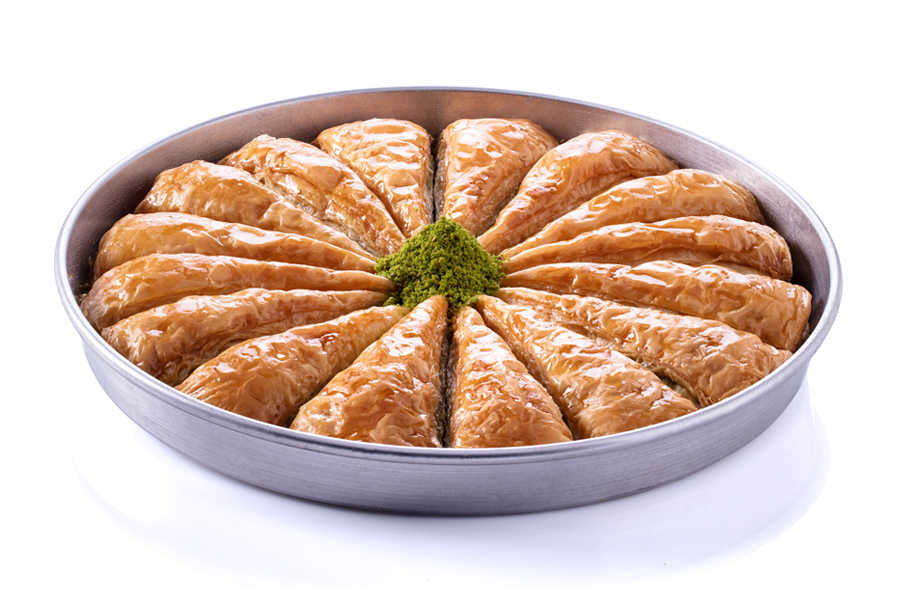 Carrot Slice Fresh Baklava with Pistachio on Tray