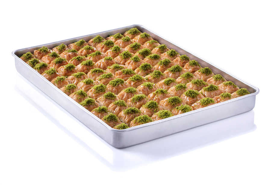 Long Lasting Fresh Baklava with Pistachio on Tray