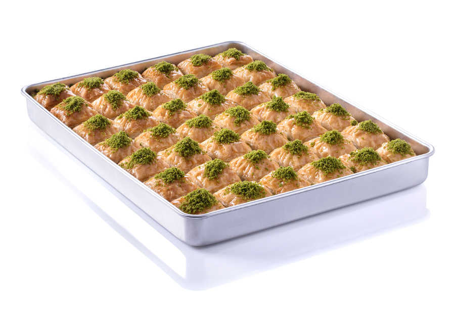 Fresh Square Baklava with Pistachio on Tray - TurkishTaste.com