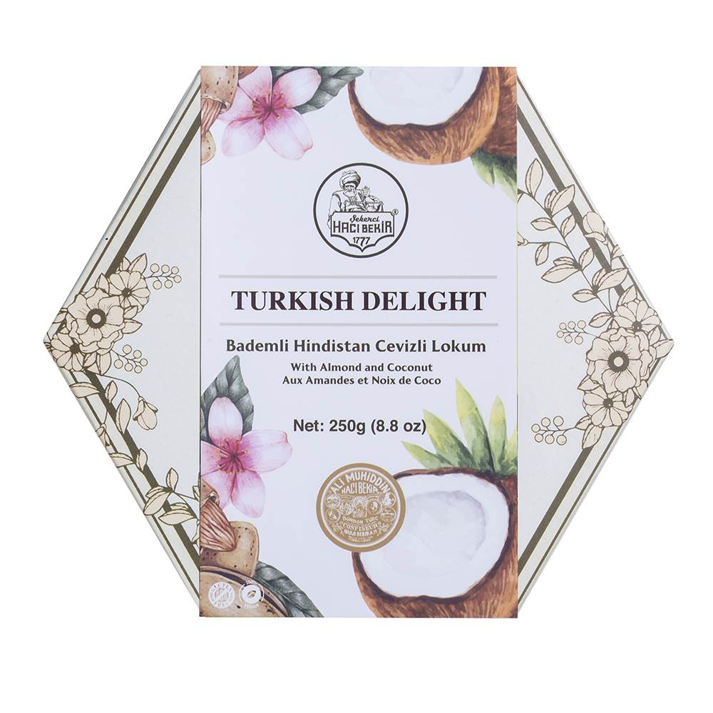 Coconut Coated Turkish Delight with Almond - TurkishTaste.com
