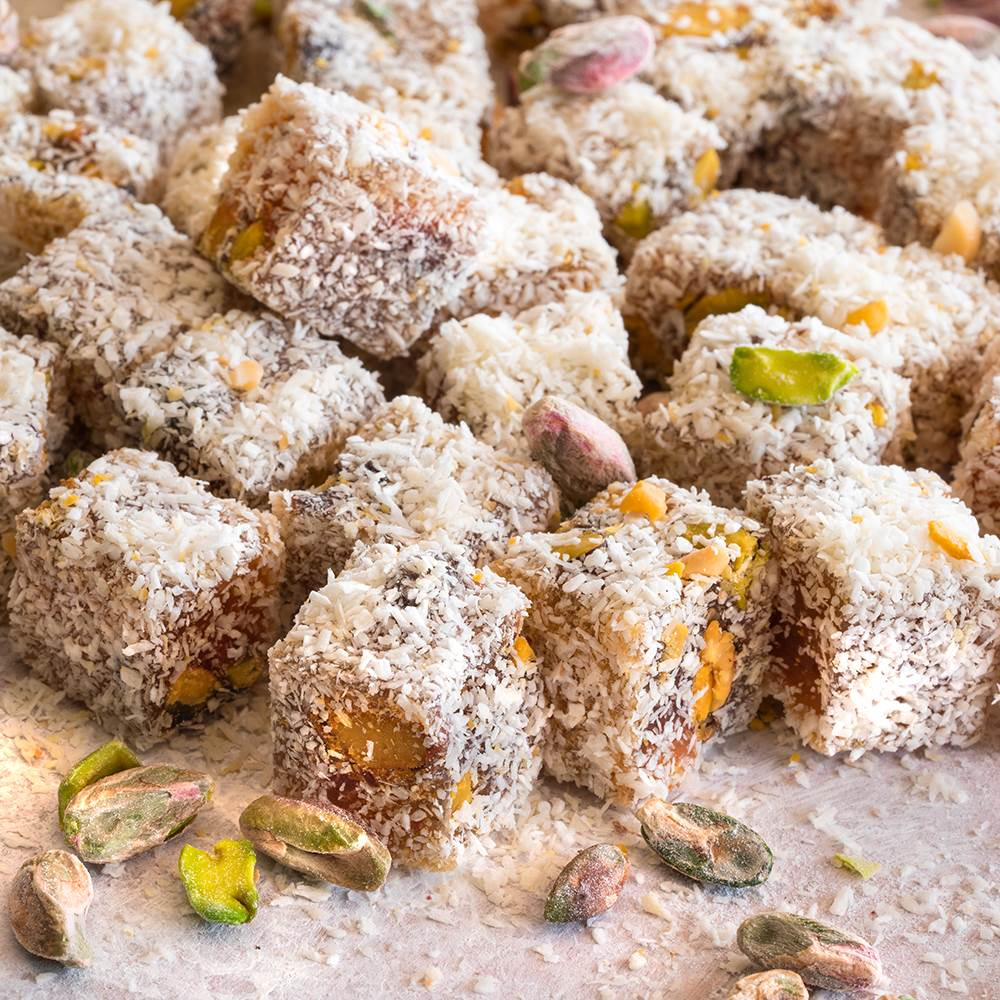 Coconut Coated Turkish Delight with Extra Pistachio - TurkishTaste.com
