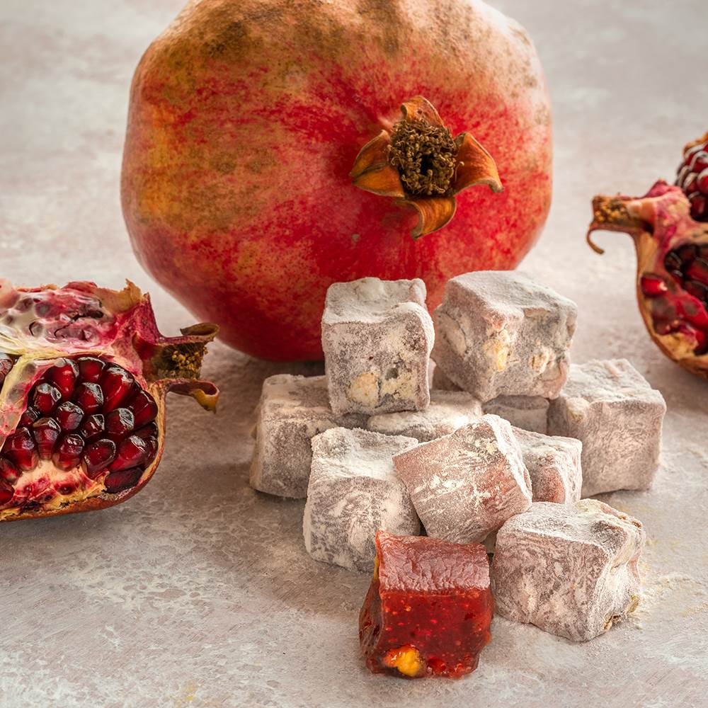 Turkish Delight with Pomegranate and Pistachio - TurkishTaste.com