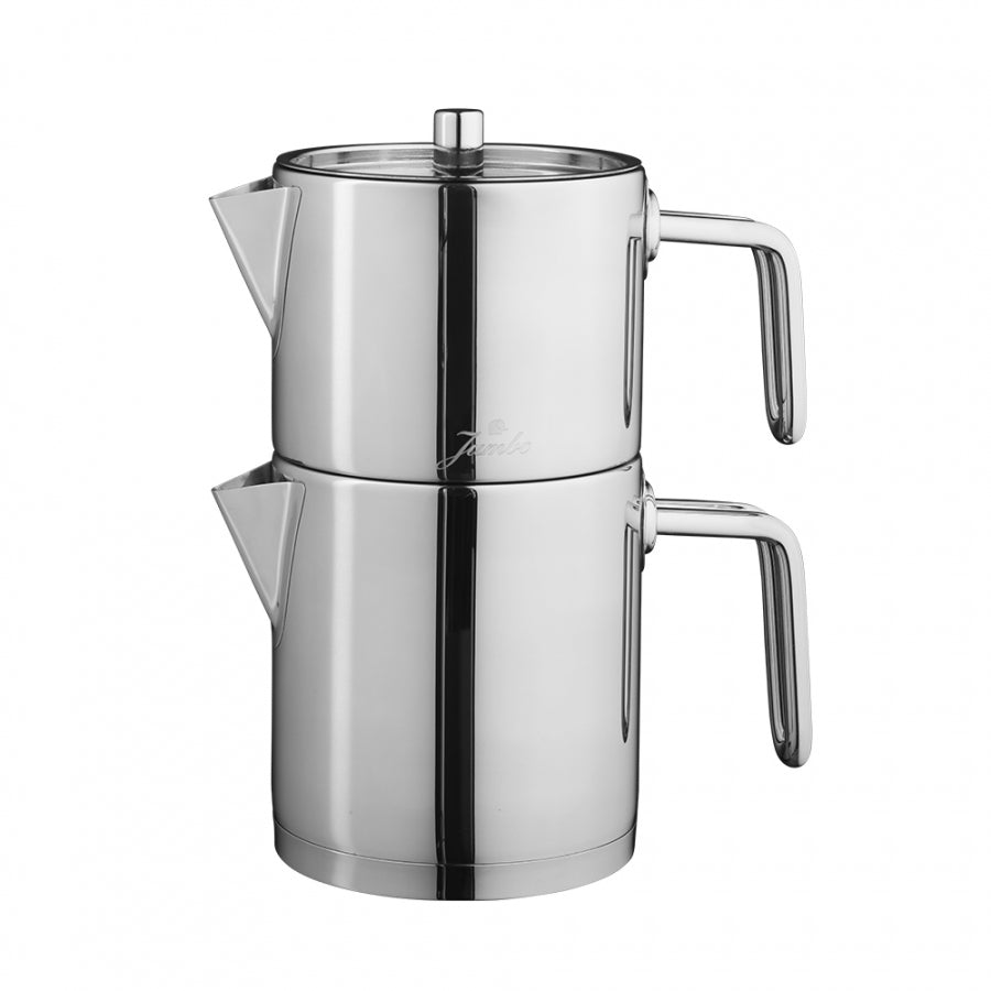 Stainless Steel Turkish Tea Pot Metallic Grey - Caydanlik - TurkishTaste.com