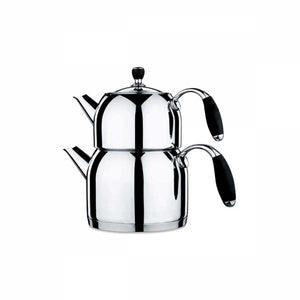 Stainless Steel Turkish Tea Pot Black - Caydanlik - TurkishTaste.com