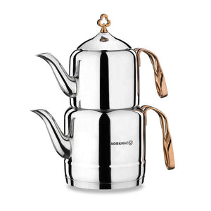 Stainless Steel Turkish Tea Pot Çintemani - Caydanlik - TurkishTaste.com