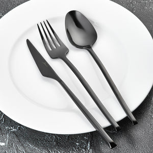 Stainless Steel Titanium Black 18 Pieces Flatware Set